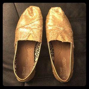 Women's Gold Glitter TOMS shoes